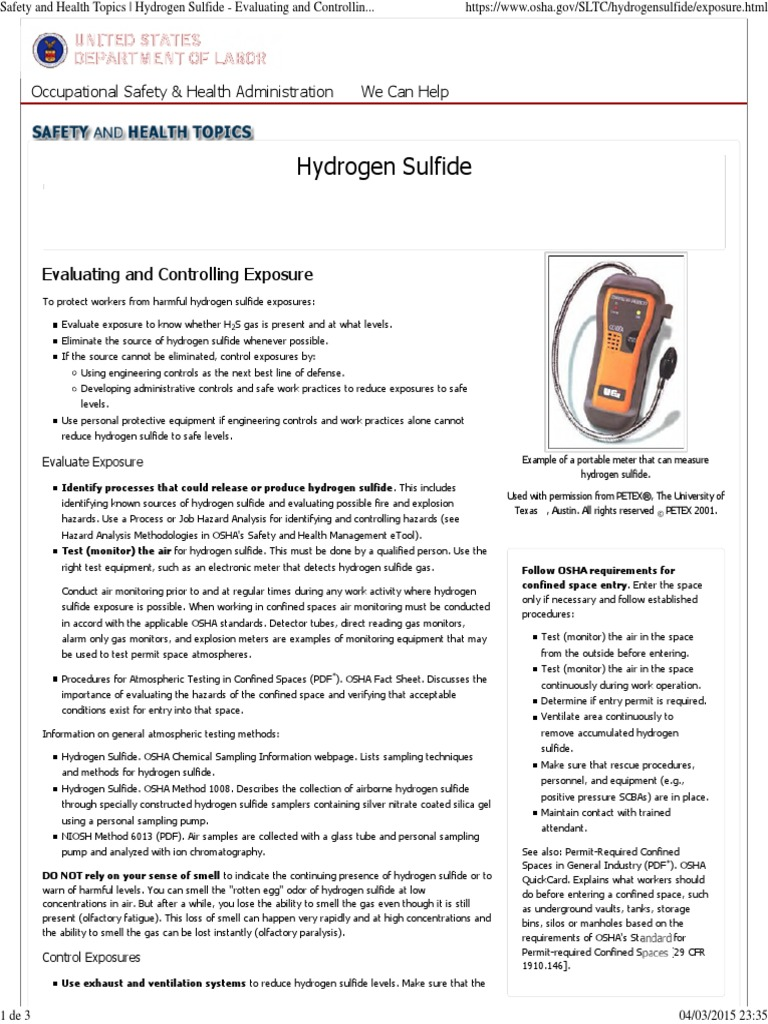 Safety and Health Topics _ Hydrogen Sulfide - Evaluating and