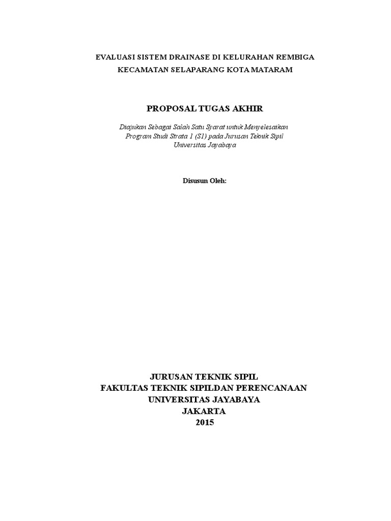 Conto Proposal Evaluasi Sistem Drainase Di Kelurahan Rembiga Kecamatan Selaparang Kota Mataram
