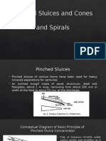 Pinched Sluices and Cones and Spirals