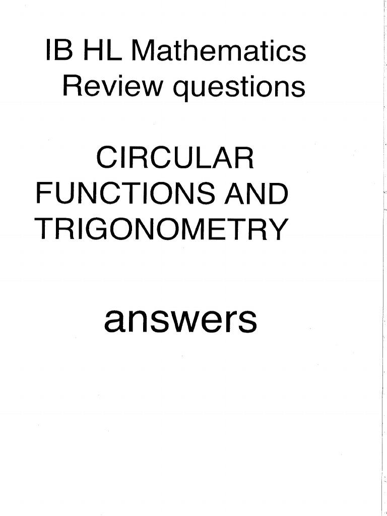IB Math HL Functions and Trigonometry Answers