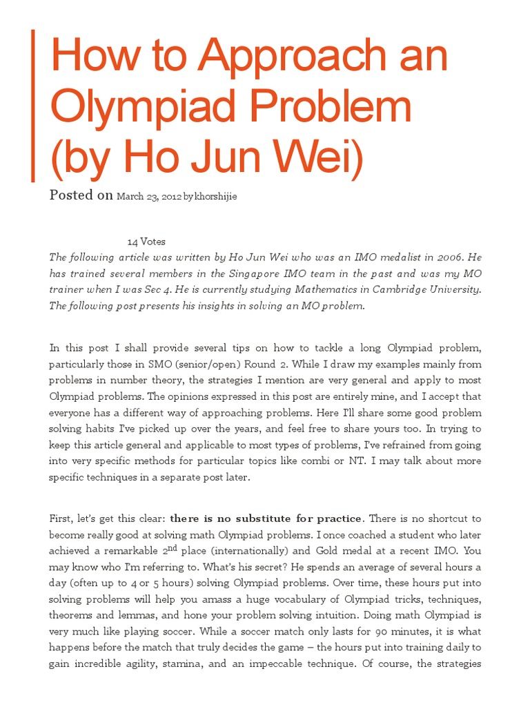 How to Approach an Olympiad Problem (by Ho Jun Wei) _ My Two
