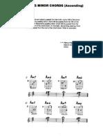 Tablatura de acordes de paso en lam, rem y Fa, pasos de 6a y 7ma