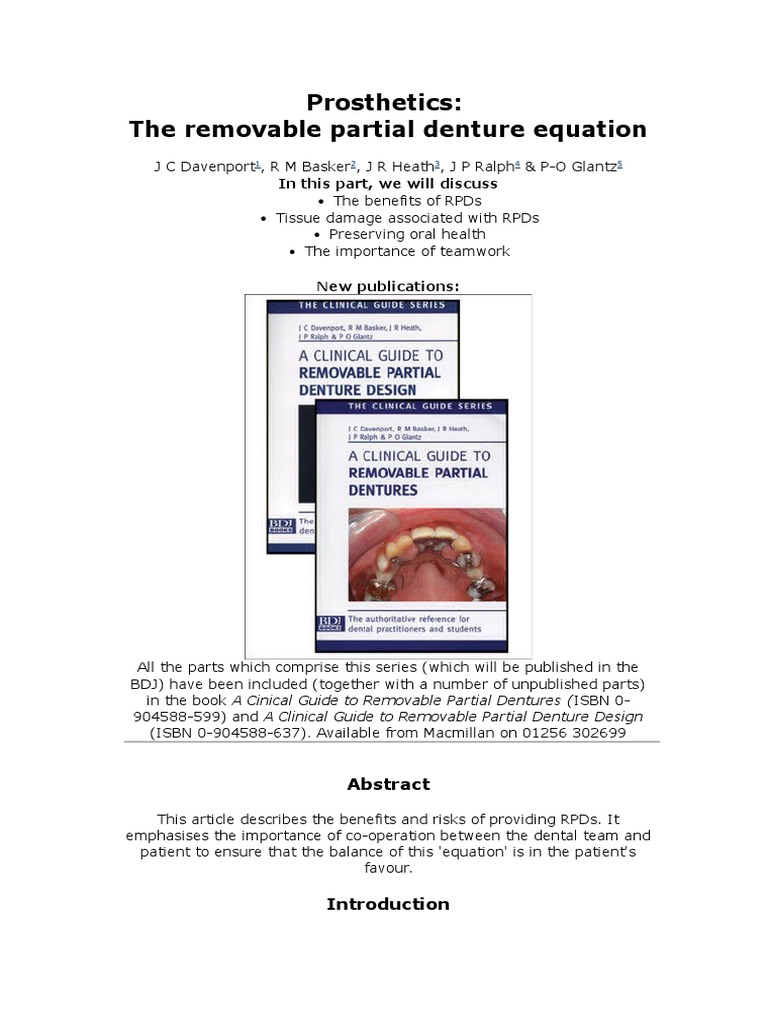 Prosthetics: the Removable Partial Denture Equation | Dentures | Oral  Hygiene