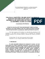 10 Calculul Cantităţii de Aer Viciat Ce Trebuie Evacuat Din Parcaje În Cazul Utilizării Sistemului de Ventilare Jet Fan Comparativ Cu Sistemul Clasi