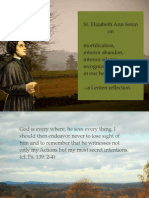 St. Elizabeth Ann Seton on Mortification, Living in Presence of God