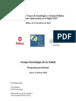 Programa provisional grupo sociología de la salud, VIII Congreso Vasco de Sociología