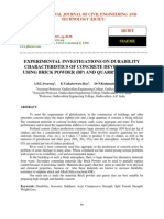Experimental Investigations on Durability Characteristics of Concrete Developed by Using Brick Powder