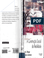 BERGER; LUCKMANN. a Construção Social Da Realidade Tratado Sobre a Sociologia Do Conhecimento