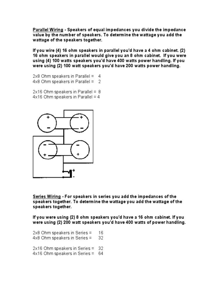 Speaker Cab Wiring Loudspeaker Series And Parallel Circuits