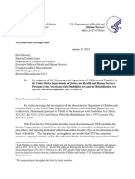 HHS DOJ Mass DCF Letter Sara Gordon Ada Inevtigation Jan 2015