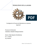"""Investigación de Procesos de Manufactura en empresas laguneras"""
