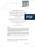 DETERMINATION OF WELL-DRAINAGE AREA FOR POWER-LAW FLUIDS BY TRANSIENT PRESSURE ANALYSIS