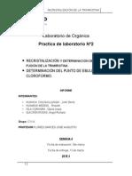 PUNTO DE FUSIÓN DE LA TRIMIRISTINA, PUNTO DE EBULLICIÓN DEL CLOROFORMO
