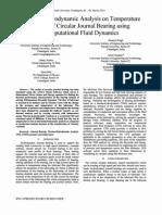 Thermo-Hydrodynamic Analysis on Temperature Profile of Circular Journal Bearing using Computational Fluid Dynamics