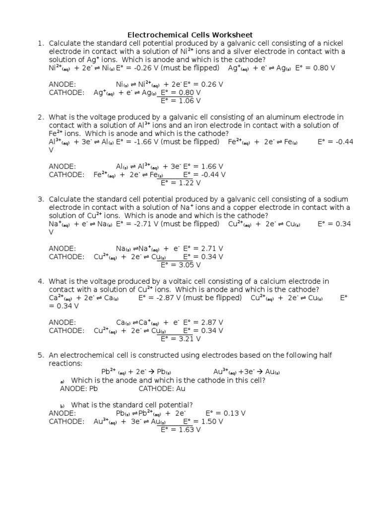 worksheet Electrochemical Cell Worksheet electrochemical cells worksheet answers
