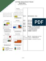 Fergus Falls Public Schools District Calendar 2010-2011