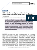 Staff retention strategies in Zimbabwe's public and private universities