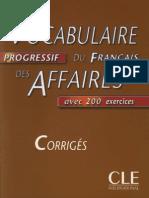 Vocabulaire Du Français Des Affaires CORRIGÉS