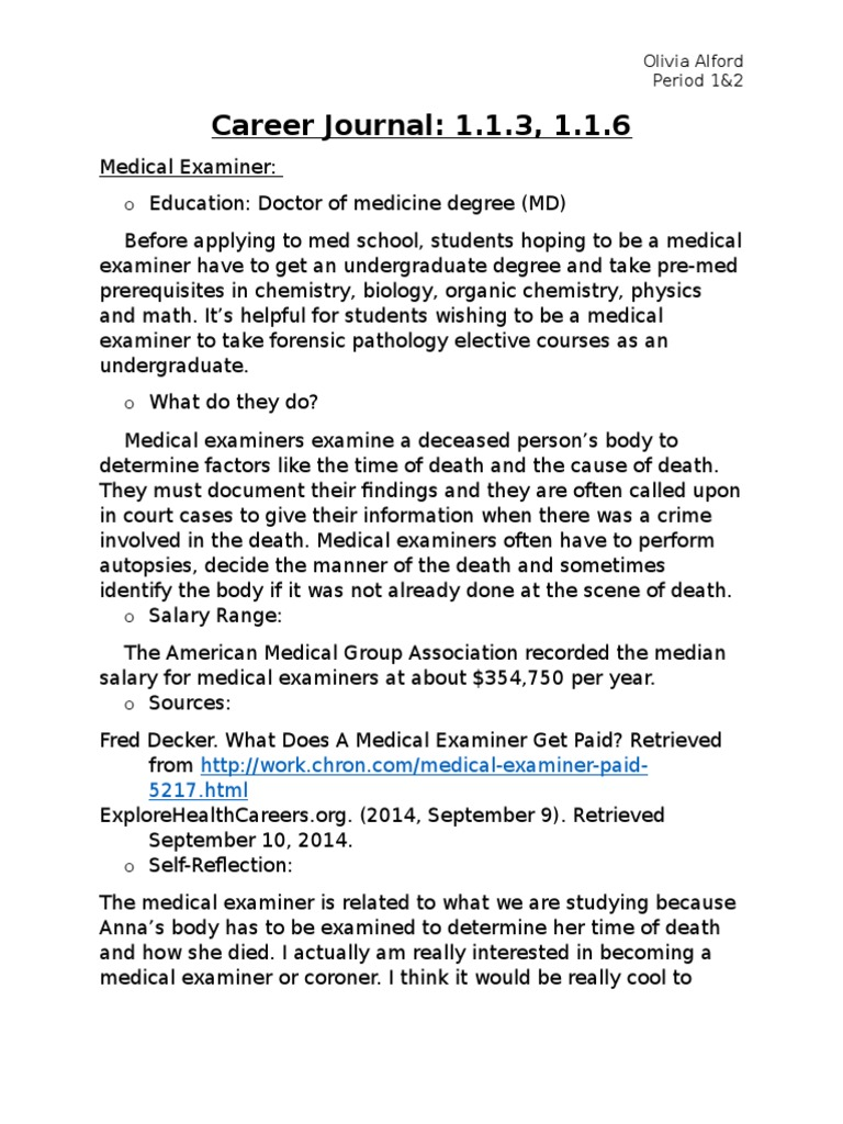 Career Journals 1 1 3 And 1 1 6 | Doctor Of Medicine | 9 1 1