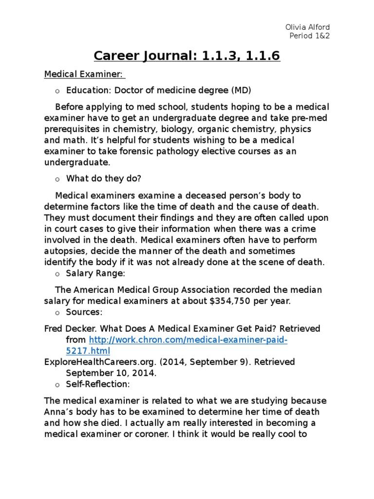 career journals 1 1 3 and 1 1 6 | Doctor Of Medicine | 9 1 1