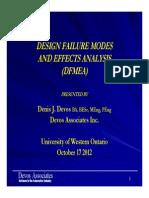 171 DFMEA Presentation UWO 2012