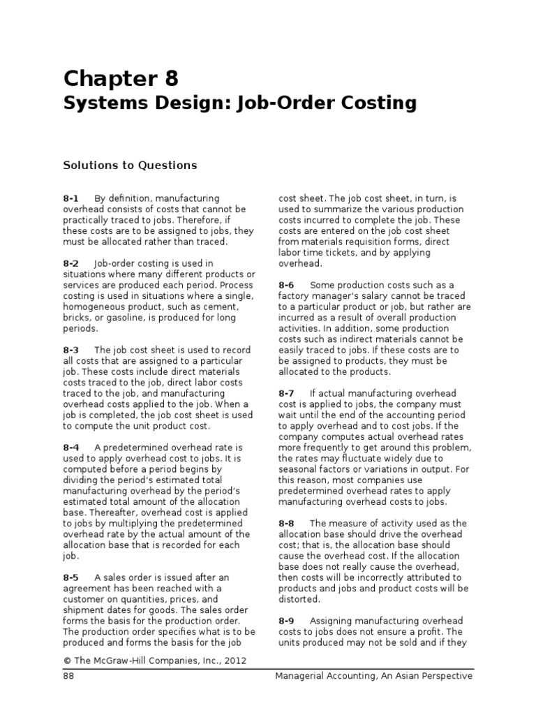 chap008 systems design job order costing cost of goods