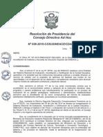 Resolución N°038-2015-COSUSINEACE-CDAH-P