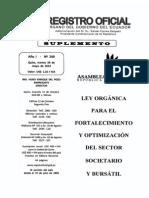 Registro Oficial No. 249 Ley Fortalecimiento Sector Societario y Busrsatil
