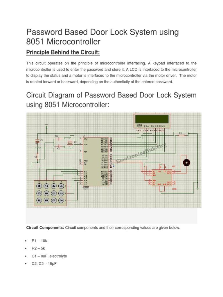 582 Password Based Door Lock System Using 8051 Microcontroller Microcontroller Electrical Network
