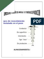 Dimensiones y Diseño de Arreglo de Tuberias de Produccion Informe