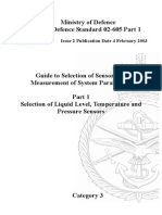 NES 605 Part 1 Guide to Selection of Sensors for the Measurement of System Parameters