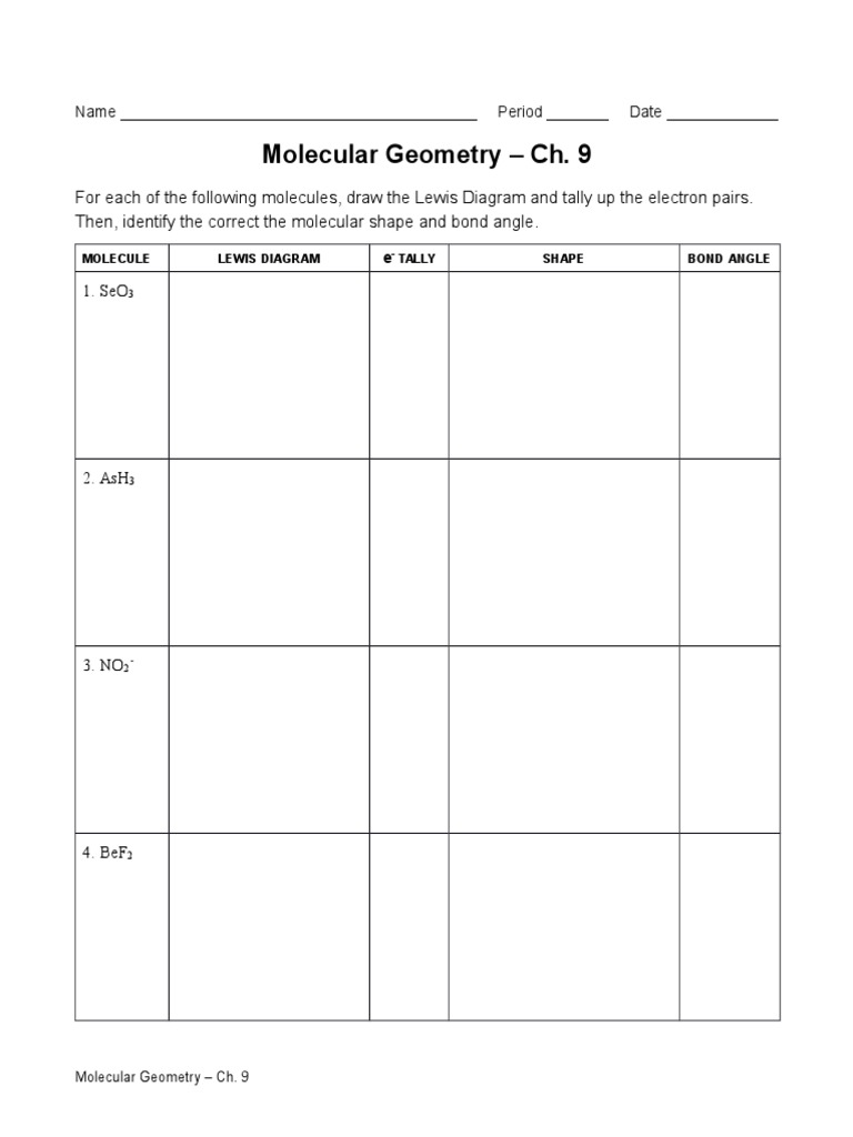 Chapter 9 Worksheets Chemical Bond Chemical Polarity