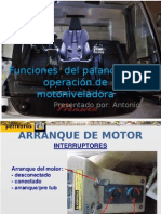 Funciones Del Palancas de Operación de Motoniveladora