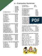 6° Exercicios Expressões Numéricas