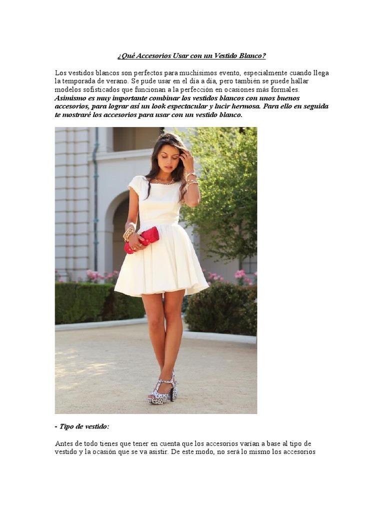Accesorios para vestido blanco formal