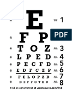 Chart for the vision of eye