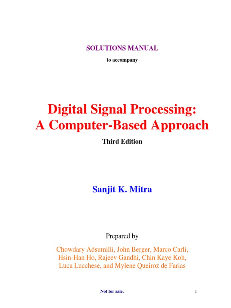 Digital Signal Processing (Solution Manual) - 3rd Edition by Mitra |  Summation | Series (Mathematics)