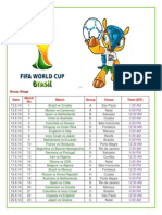 World Cup 2014 Match Timings (IST)