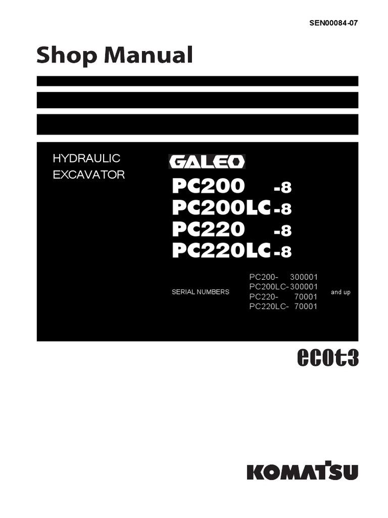 Shop Manual Pc200 8 (ing) Valve Engines Kubota Wiring Schematics Komatsu Pc  220 Wiring Schematic