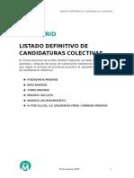 Listado definitivo de candidaturas a las primarias de Ahora Madrid (PDF)
