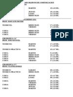 Horarios FyLO - Carrera de Letras
