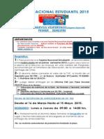 TARJETA NACIONAL ESTUDIANTIL 2015   ALUMNOS NUEVOS VESPERTINOS (Ingreso Especial)  PRIMER    SEMESTRE