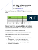 Problema de la Dieta en Programación Lineal resuelto con Solver de Excel.doc