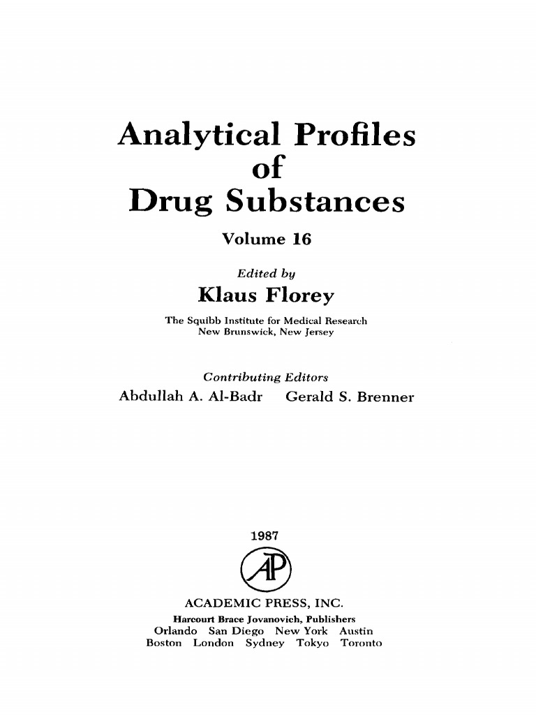 Vol 16 Analytical Profiles Of Drug Substan BookSee V 16