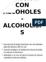 Reacción Con Alcoholes - Alcoholisis