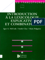 Introduction a La Lexicologie Explicative Et Combinatoire