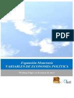 Expansion Monetaria. VARIABLES DE ECONOMIA POLITICA