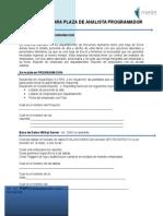 Evaluacion Para Plaza de Analista Programador