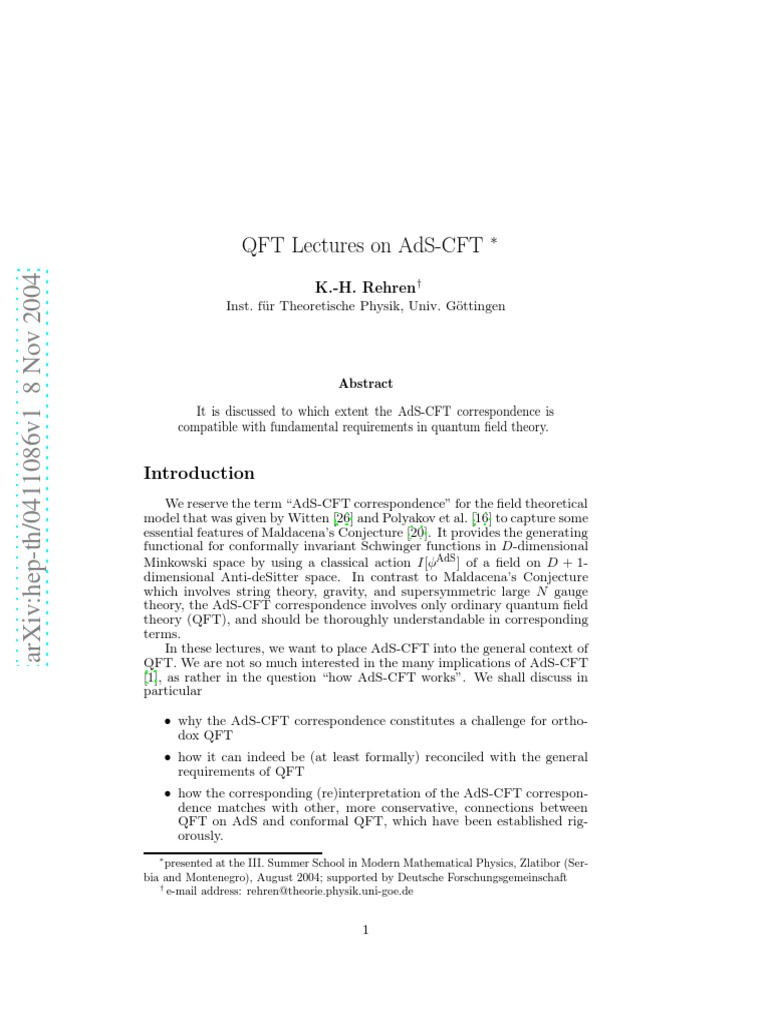 QFT Lectures on AdS_CFT pdf   Quantum Field Theory   Spacetime