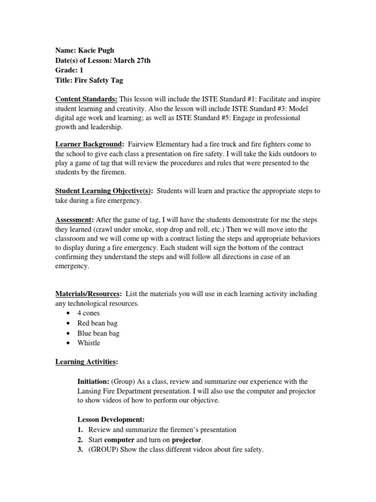 Lesson plan grade 1 fire safety tag lesson plan quality of life ibookread Read Online
